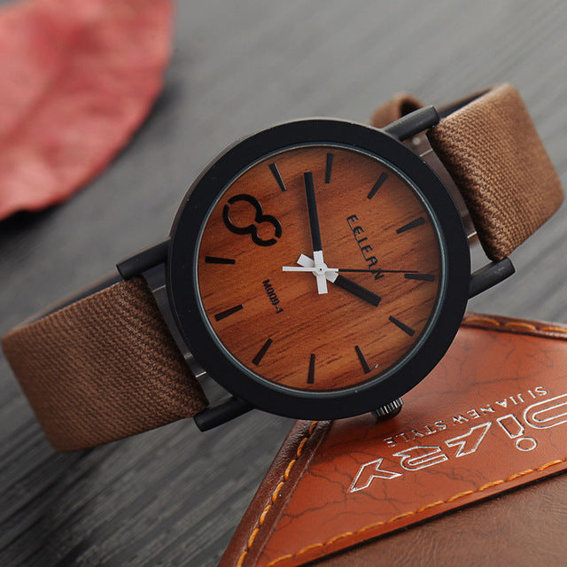 Men Watches Casual Wooden Color Leather Strap Watch - Discount Patrol
