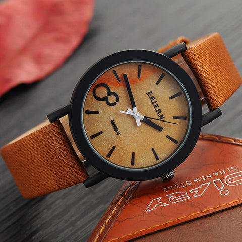 Image of Men Watches Casual Wooden Color Leather Strap Watch - Discount Patrol