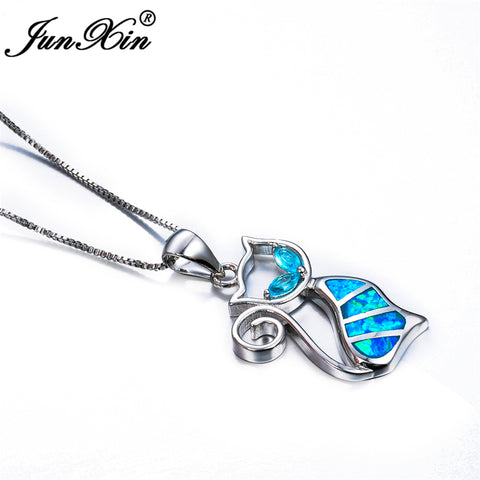 Image of Cat Necklace Blue Opal Sterling Silver Necklace & Pendant - Discount Patrol