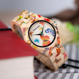 Women's Butterfly Wood Watch