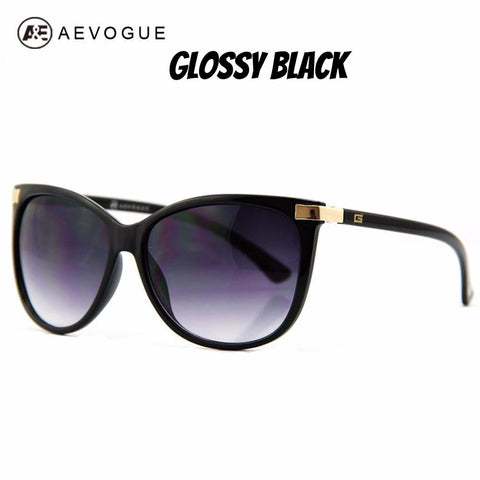Image of Glossy Black Cat Eye Sunglasses