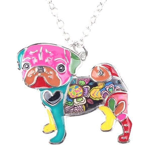 Colorful Pug Dog Pendant Necklace