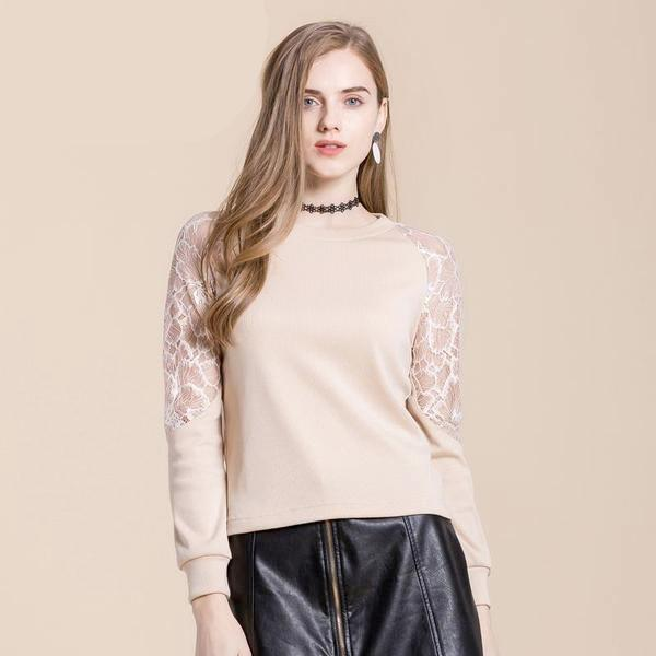 Women's Elegant Long Sleeve Lace Top