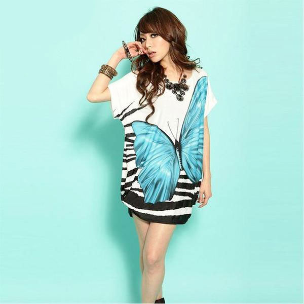 Women's Loose Large Butterfly Print Dress