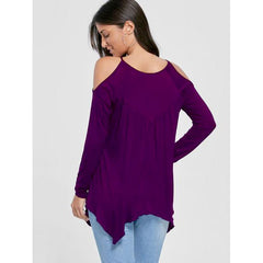 Women's Casual Round Neck Open Shoulder Blouse