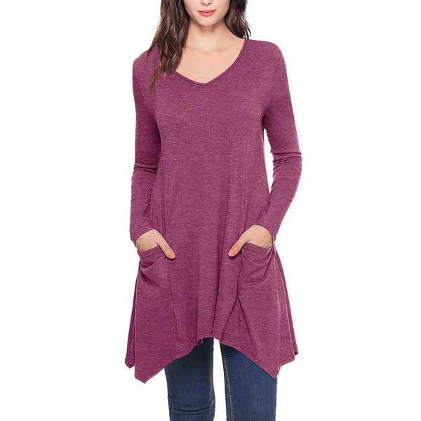 Women's V-Neck Long Sleeve Long Tunic Blouse