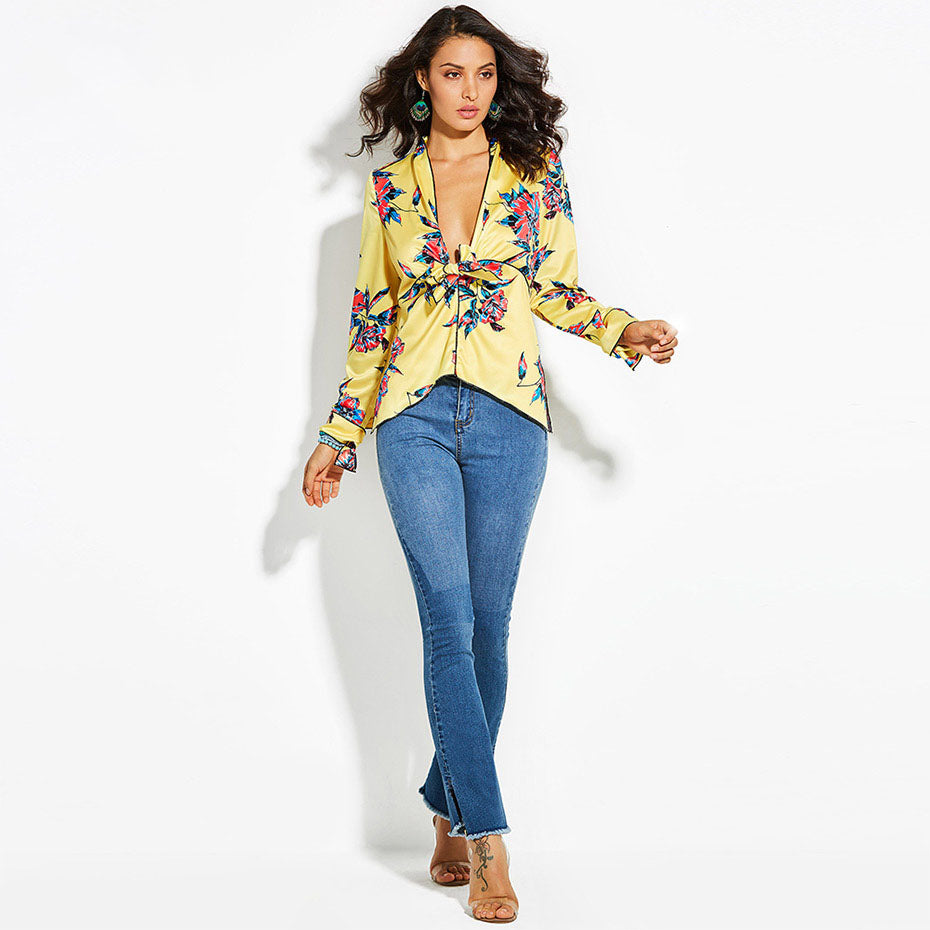 Women's Yellow Floral V-Neck Long Sleeve Top