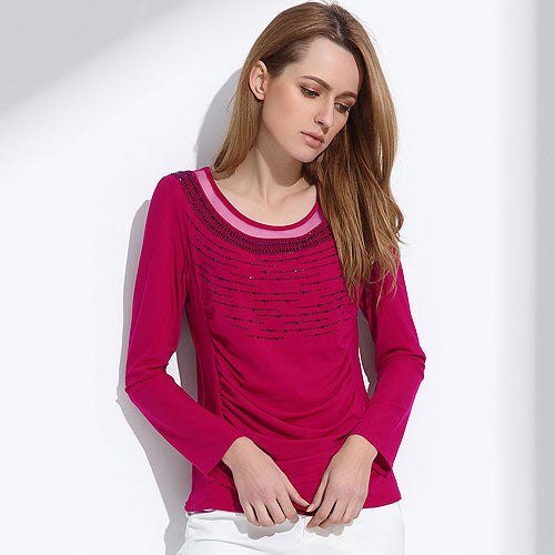 Women's Casual Beaded Long Sleeve T-Shirt