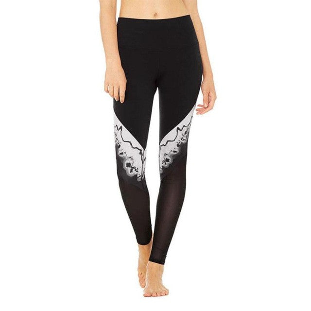 Women's Black and White Patchwork Active Leggings