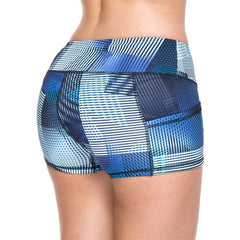 Women's Bright Blue Line Pattern Mid Waist Active Shorts