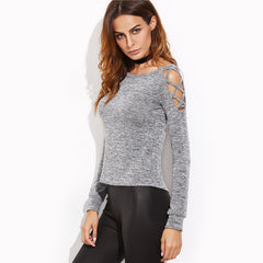Women's Gray Crisscross Open Shoulder T-Shirt