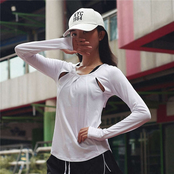 Women's Full Sleeve Hollow Out  Active Top