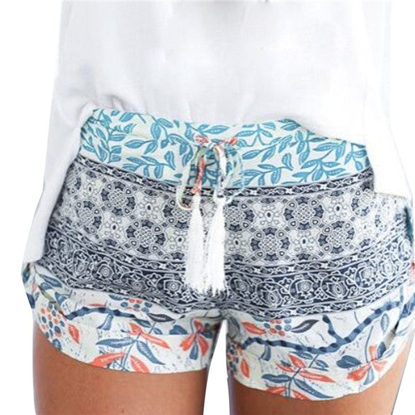 Women's Stretchy Colorful Floral Pattern Shorts