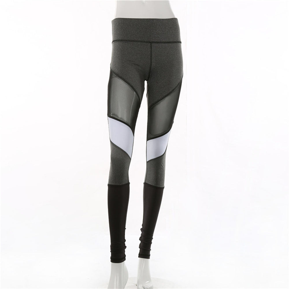 Women's White Stripe Mesh High Waist Active Leggings