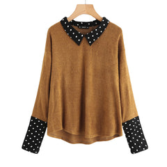 Women's Polka Dot Collar and Cuff Tee Brown T-Shirt