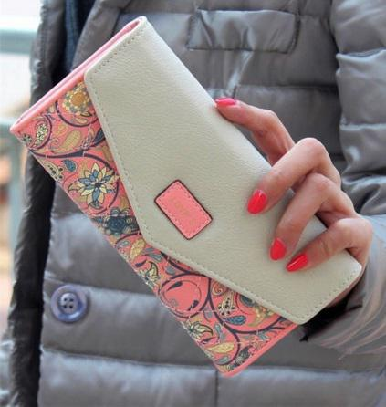 Women's Floral Pattern Long Wallet