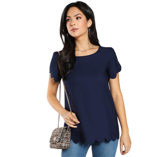 Women's Scallop Trim Short Sleeve Top