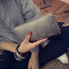 Women's Large Lizard Skin Pattern Long Wallet