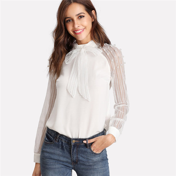 Women's Tie Neck Pearl Embellished Long Sleeve Top