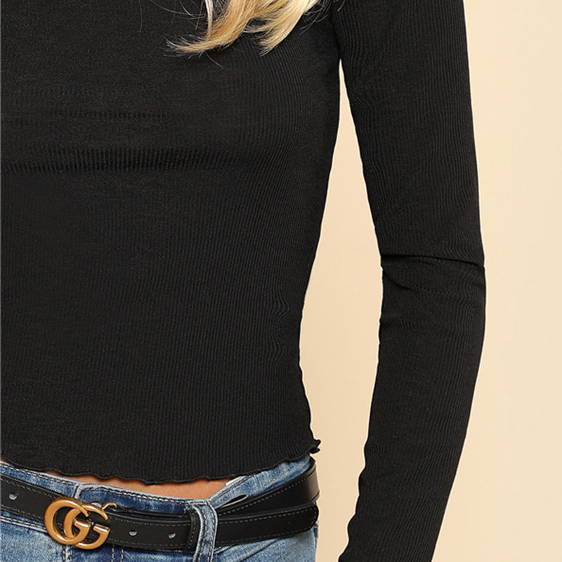 Women's Black Turtleneck Long Sleeve T-Shirt
