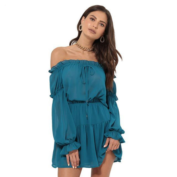 Women's Chiffon Long Sleeve Loose Dress