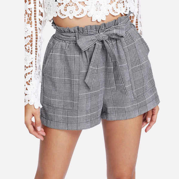Women's Gray Plaid Shorts