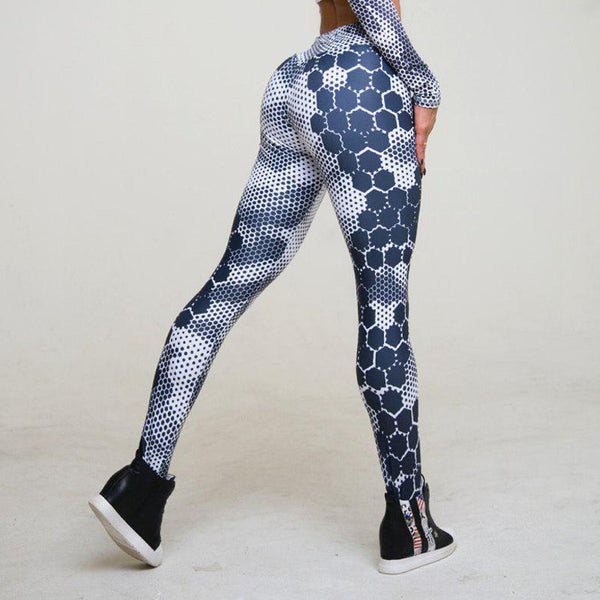Women's White and Blue Pattern Active Leggings