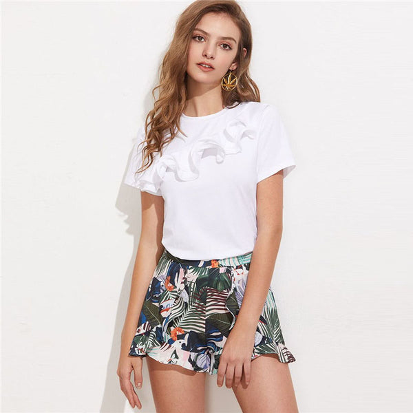 Women's Layered Ruffle Round Neck Short Sleeve T-Shirt