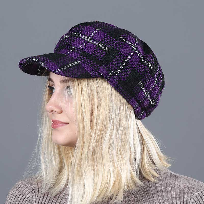Women Purple Plaid Newsboy Cap