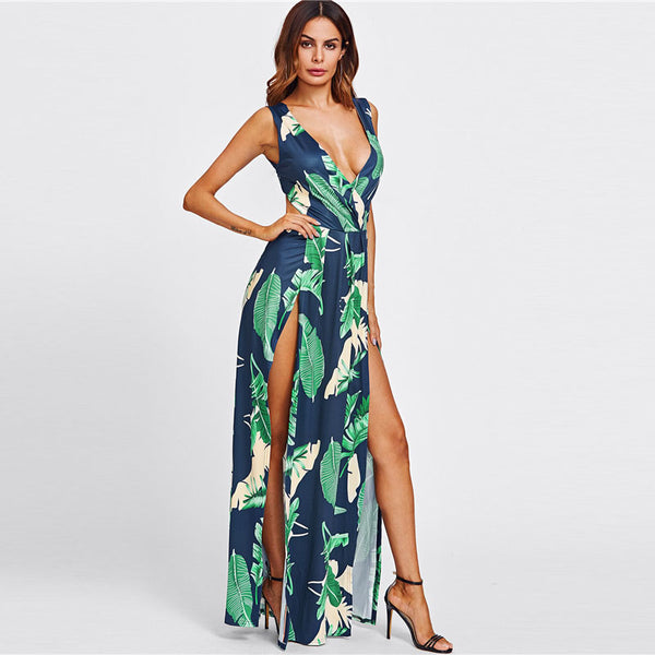 Women's Jungle Print V-Neck Dress