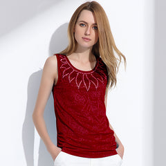 Women's Rhinestone Rose Pattern Sleeveless Top
