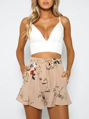 Women's Light Brown Floral Pattern Shorts