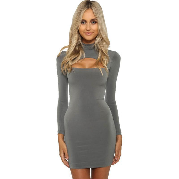 Women's Full Sleeve Sexy Stand Collar Dress