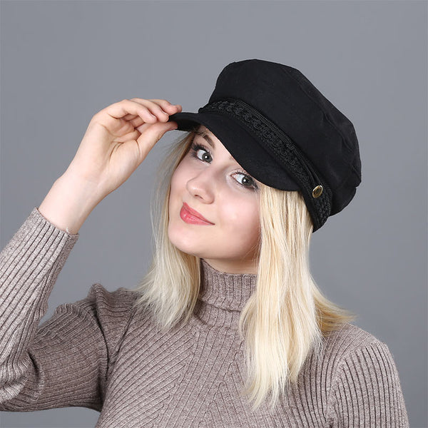 Women's Black Metal Button Newsboy Cap