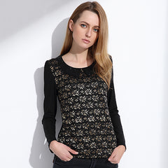 Women's Beaded Collar Vintage Long Sleeve T-Shirt