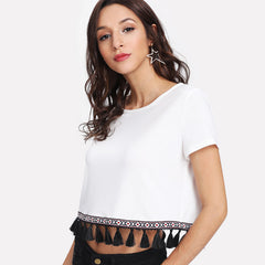 Women's Embroidered Tape & Tassel T-Shirt