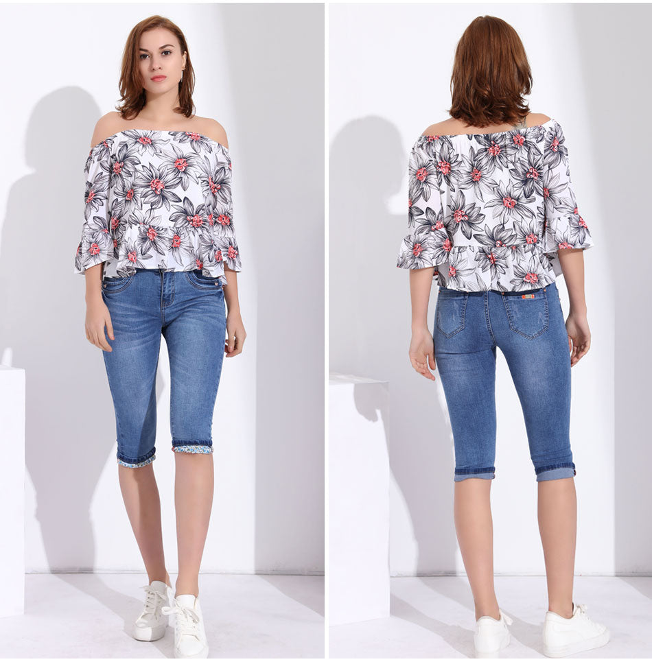 Women's White Floral Print Off Shoulder Top Ruffle Top