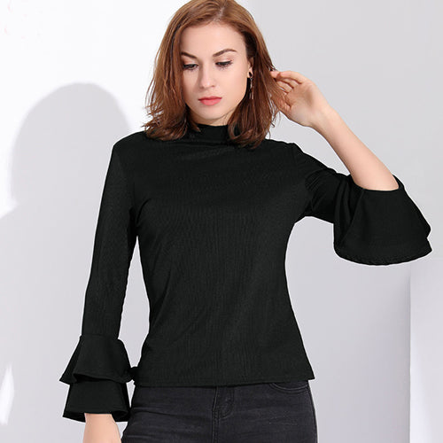 Women's Ruffle Long Sleeve T-Shirt