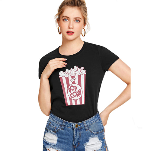 "Women's ""Popcorn"" Print Pearl Embellished Short Sleeve T-Shirt"