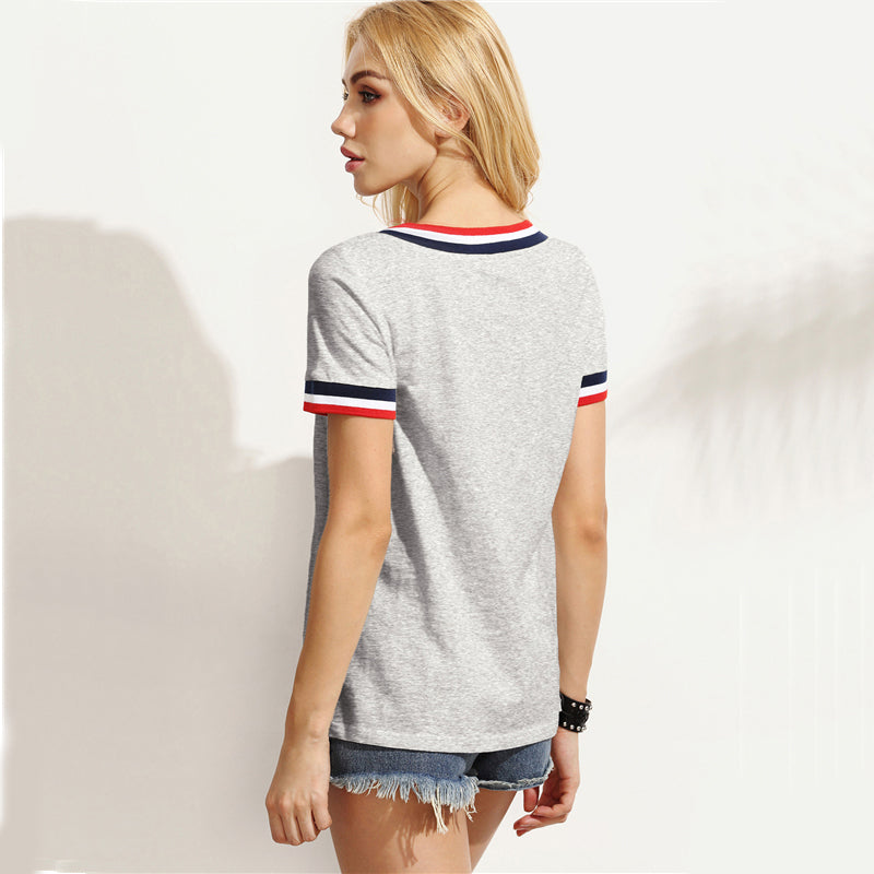 Women's Gray Striped V-Neck Short Sleeve T-Shirt