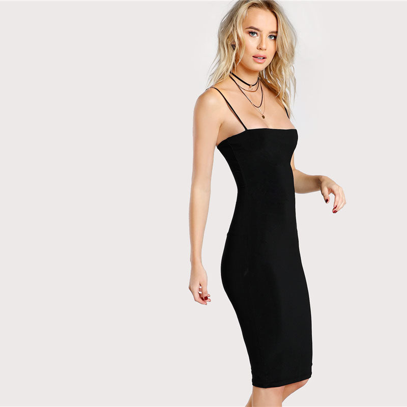 Women's Black Solid Spaghetti Strap Dress