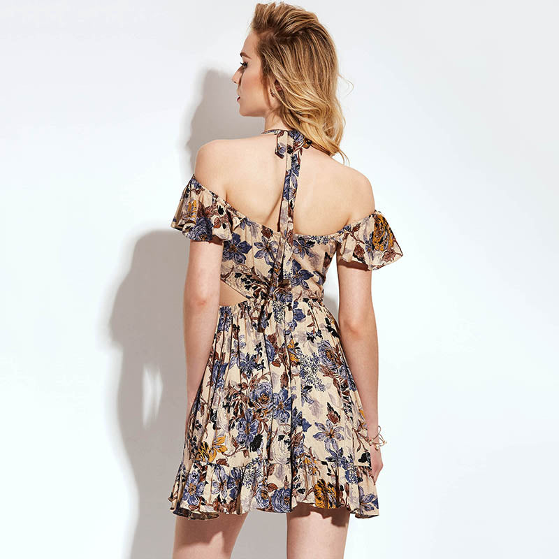Women's Tan Floral V-Neck Ruffle Dress