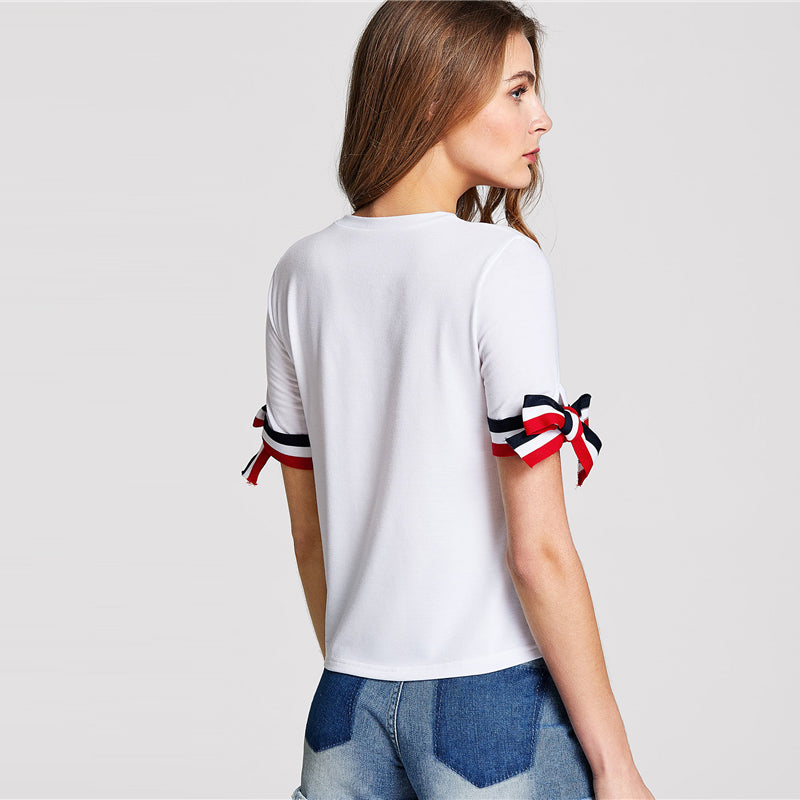 Women's White Knotted Striped Sleeve T-Shirt