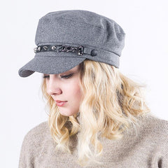 Women's Newsboy Metal Chain Cap
