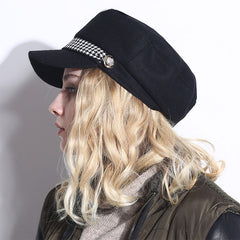 Women's Black Checker Pattern Newsboy Cap