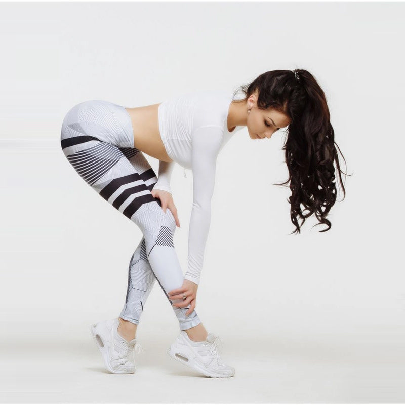 Women's Stripes/Honeycombed Pattern Yoga Pants