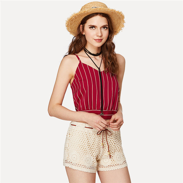 Women's Red Striped V-Neck Tank Top