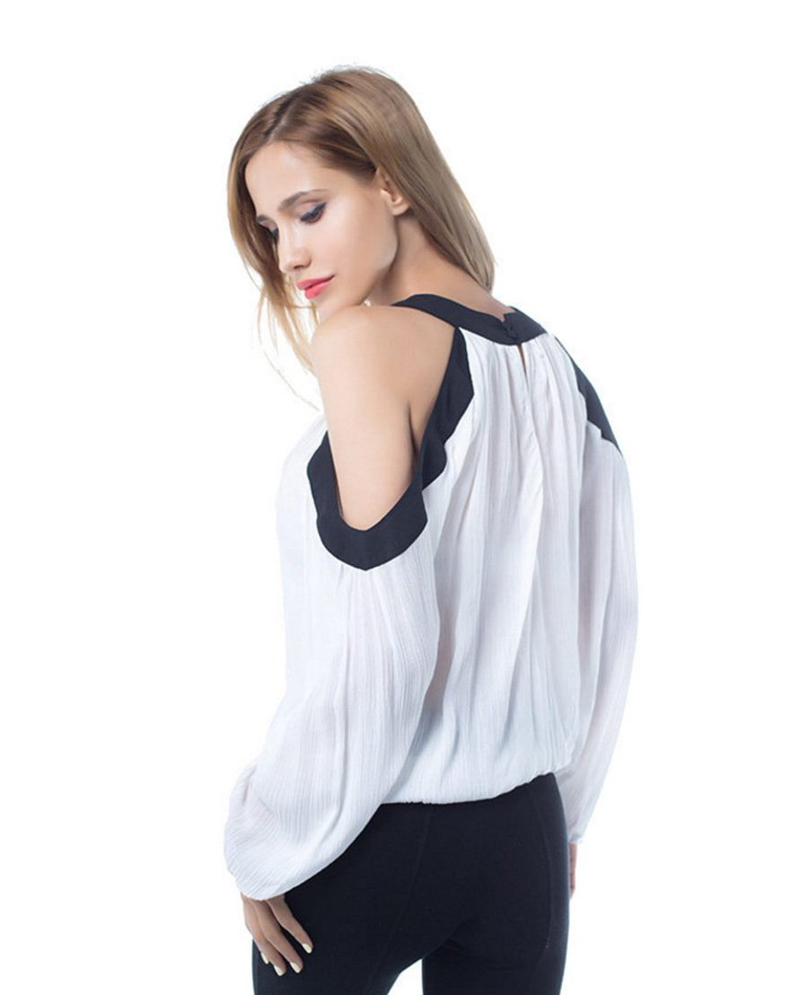 Women's White Open Shoulder Long Sleeve Top