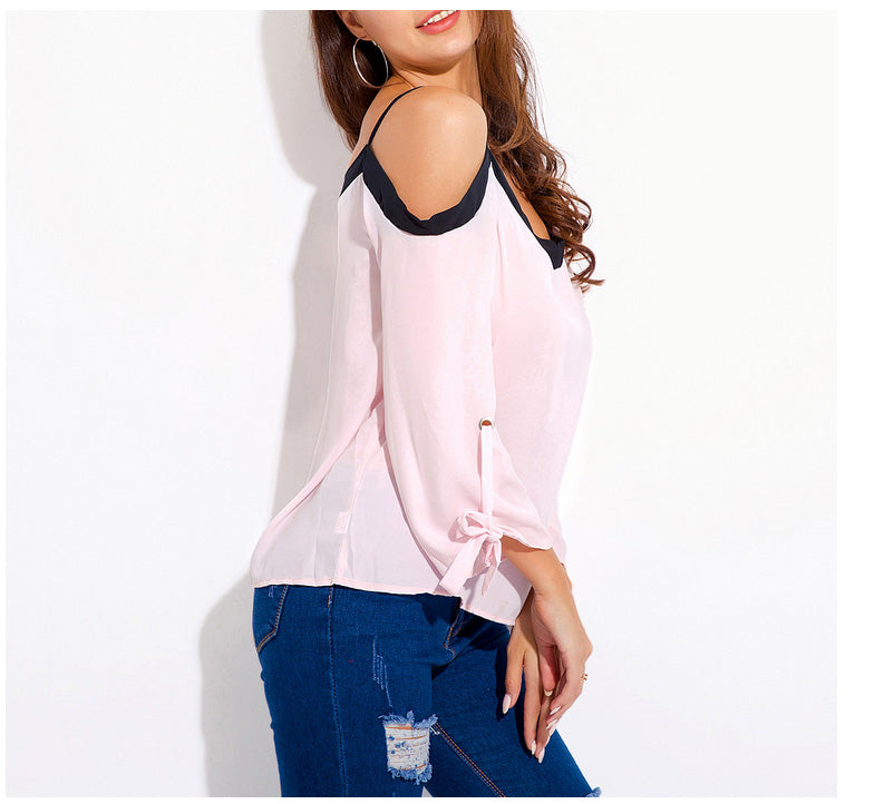 Women's Sling Sleeve V-Neck Top