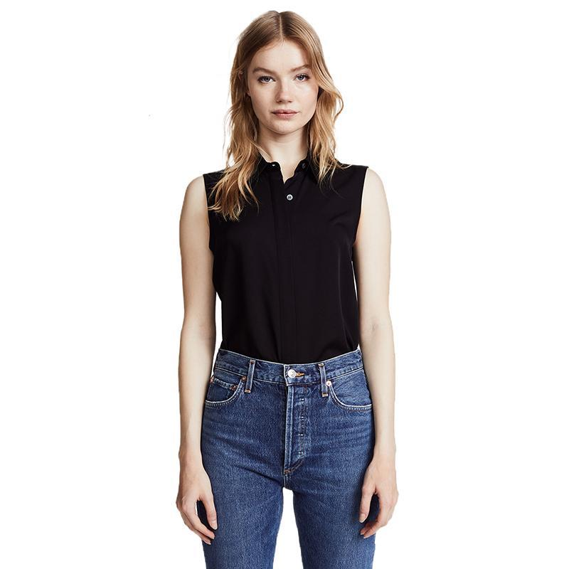 Women's Solid Black Sleeveless One Button Top